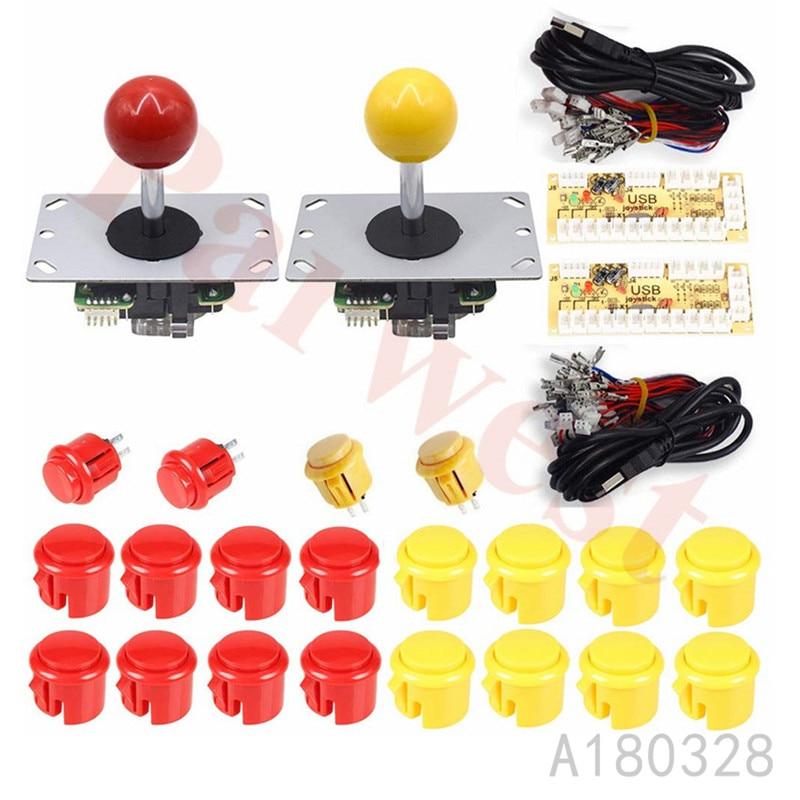 Kits de Arcade DIY controlador USB codificador para juegos de PC 5 pin 8 maneras Arcade juego Joystick + 20x botones para Raspberry Pi 1 2 3