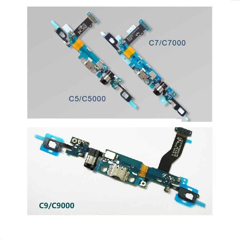 Cargador de puerto USB con micrófono de carga + botón de inicio para auriculares Jack Flex Cable para Samsung Galaxy C5 C5000 C7 C7000 C9 PRO C9000