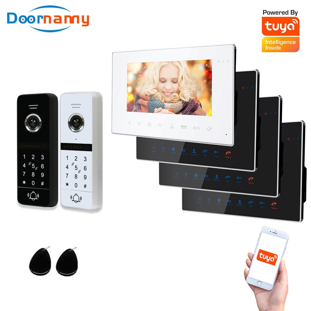 Doornanny WiFi Video Intercom Kit Villa Apartment 2Doors 4Monitor 2Doorphone Video Call AHD 960P Tuya APP Remote Unlock