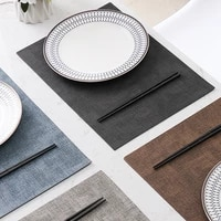 japanese food waterproof high end placemat oil proof heat insulat imitation cloth pattern leather table mat coaster tablecloth