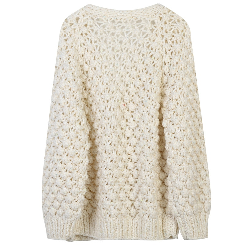 SHUCHAN Hollow Out White Knit Sweater Women Vintage V-Neck Coarse Yarn A-straight Winter Thick  Kimono Cardigan Warm New enlarge