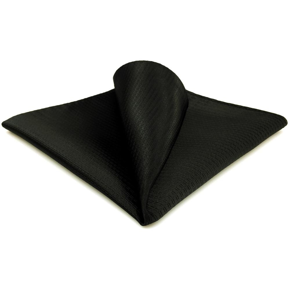 "CH28 Silk Solid Black Pocket Square for Men Fashion Hanky Handkerchief Large 12.6"""