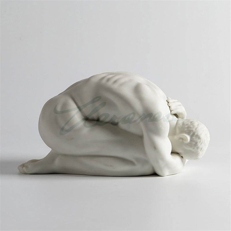 Artesanía de cerámica abstracta creativa, arte corporal, figura de hombre desnudo, frotación para habitación, escritorio, estatua, exposición Interior, decoración del hogar R4143