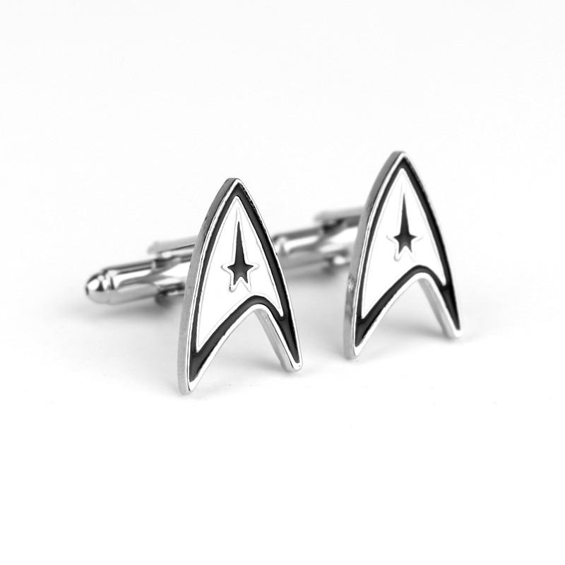 Joyería de moda película Star wars Trek logo mancuerna nave espacial forma aleación manga botón hombres accesorios de mujer pequeño regalo