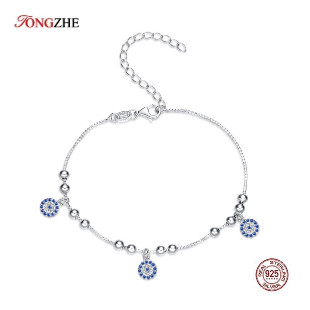 TONGZHE Authentic Women Bracelet Sterling Silver 925 CZ Blue Round Beads Evil Eye Bracelet Turkish Bracelets Fine Jewelry