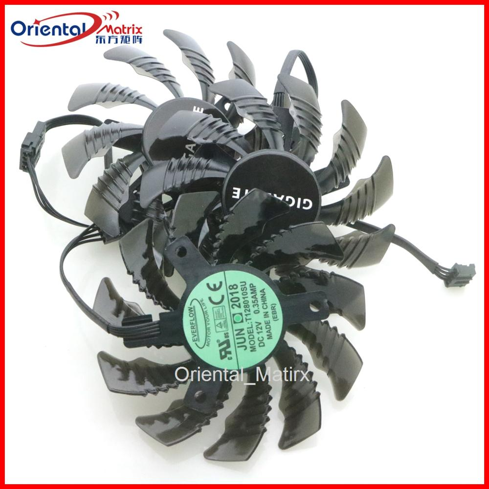 free shipping t128010sm 75mm dc12v 0 20a 40 40 40mm for gigabyte graphics card cooler cooling fan Free Shipping 3pcs/lot T128010SU DC12V 0.35AMP 75mm VGA Fan 4Pin For Gigabyte Graphics Card Cooling Fan