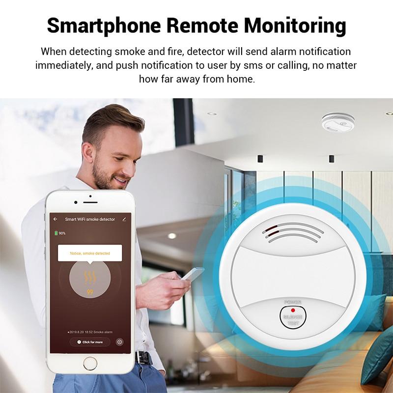 Wifi Smart Smoke Detector Independent Voice Tuya Fire Alarm Smoke Sensor Home Security System Rookmelder Fire Protection Alexa