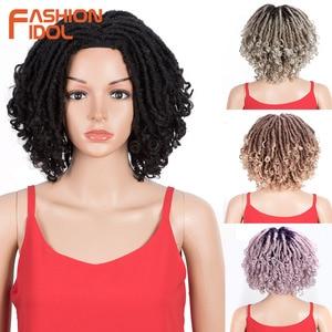 FASHION IDOL 8 inch Soft Dreadlocks Short Bob Hair Extensions Faux Locs Braiding Hair Wig Ombre Synthetic Wigs For Black Women