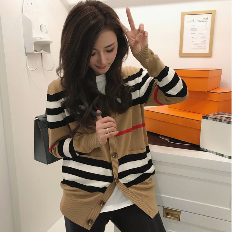 O que há de novo, é a chave de cabelo para mujer, de longitud media chaqueta de punto, suéter holgado a rayas con cuello en v