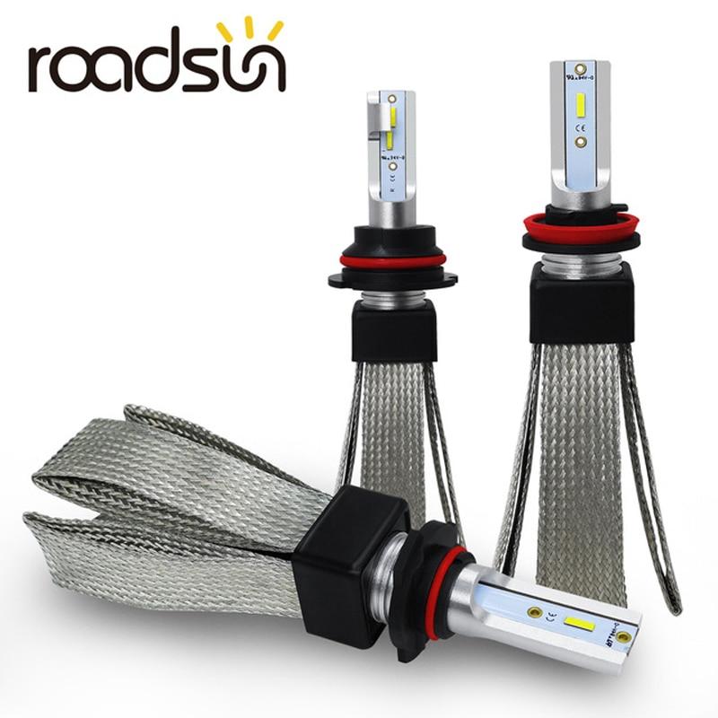 Roadsun H4 H7 LED سيارة أضواء H11 H1 H3 880 9005 9006 9007 H13 HB3 HB4 LED مصباح أضاءه أمامي مصباح تلقائي CSP رقاقة Automotivo 12V 6000K