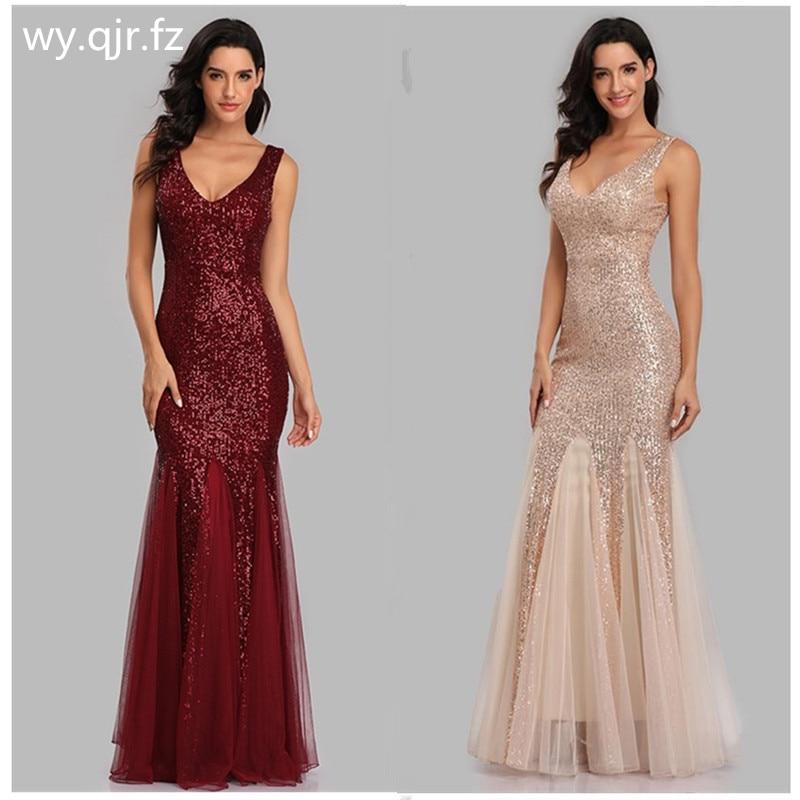 HJQ-813 # vestido de noite longo dourado borgonha azul escuro fishtail saia lantejoulas vestidos festa baile de formatura atacado roupas femininas apertado