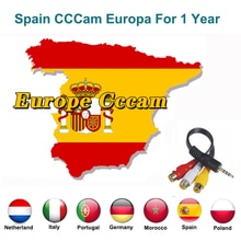 1 año España portugal Europa CCCAM servidor para GTmedia V8 satélite TV receptor líneas WIFI FULL HD DVB-S2 Eroupe cccam 7 líneas