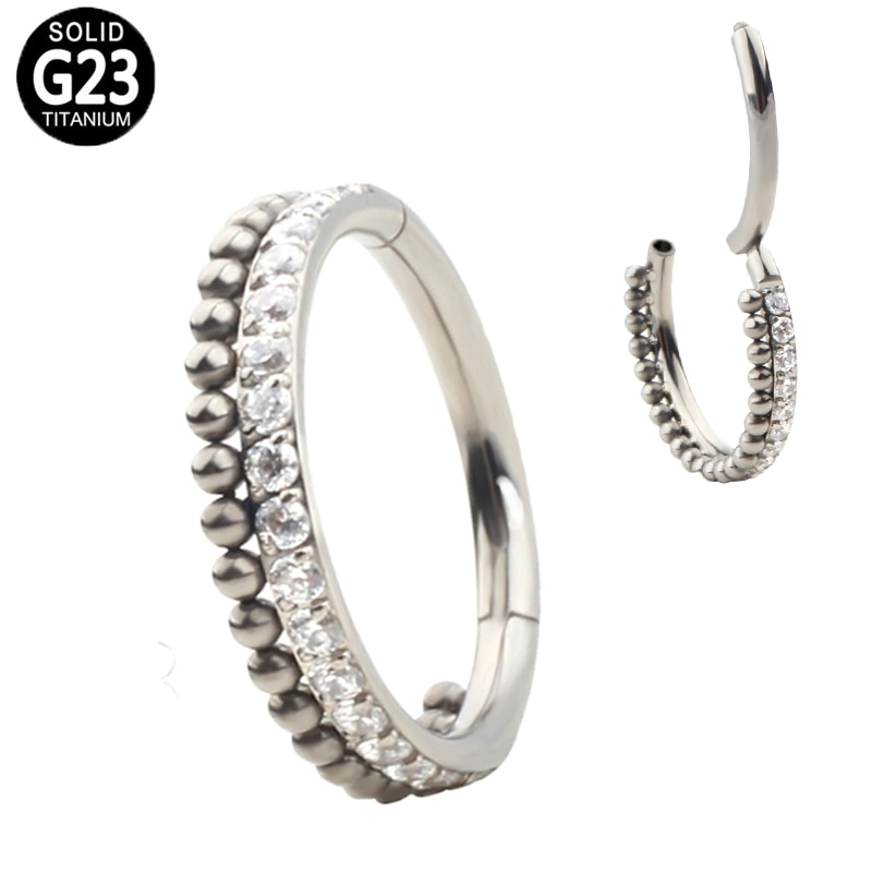 G23 Titan Nase Ring Klapp CZ Segment Ringe Ball Nippel Clicker Ohr Knorpel Tragus Helix Lip Stud Piercing Schmuck