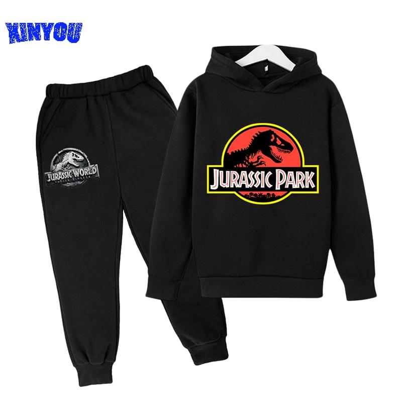2 PCs Suits Jurassic Park World Dinosaur Sweatshirt Teen Boys Autumn Hoodies For Children Clothing Sets Kawaii Girls Sweatshirts