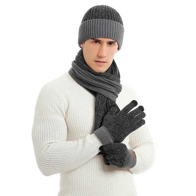 Мужская шапка-шарф из трех предметов зимняя модная теплая вязаная шапка мужская и женская теплая полосатая шерстяная шапка шарф сенсорные ...