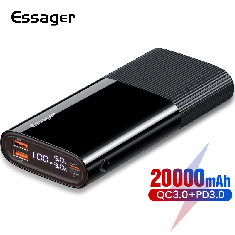 Essager 20000 mAh banco de potencia PD QC 3,0 cargador de batería externa USB tipo C Powerbank 20000 mAh Poverbank para Xiaomi mi iPhone