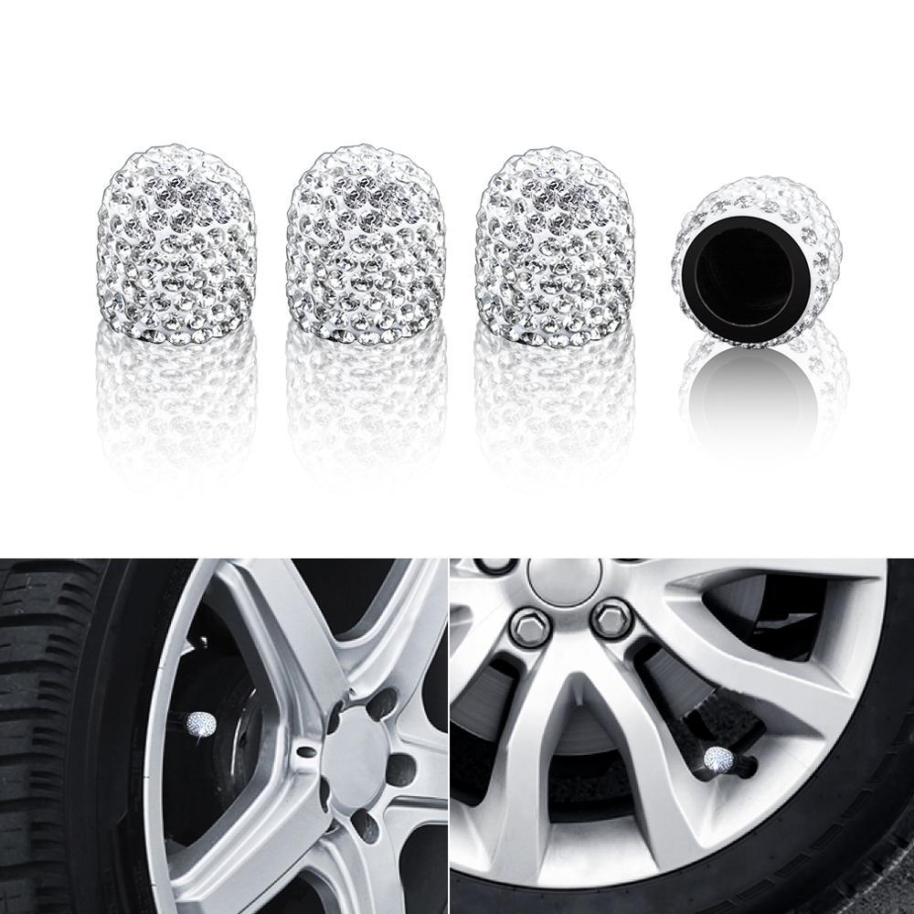 Lote de 4 unidades de tapas de válvula para neumáticos de coche, tapas de diamantes de imitación brillantes de arcilla blanda, accesorios para automóviles que brillan con diamantes
