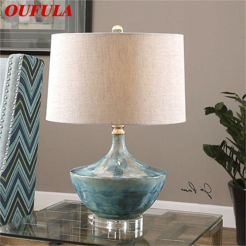 OUFULA باهتة الجدول مصباح المعاصرة LED السيراميك اللوحة الزخرفية مكتب ضوء للمنزل السرير
