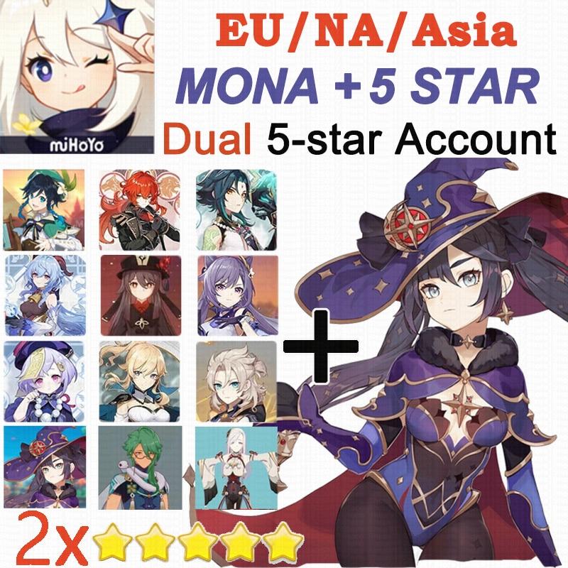 Genshin Impact Ganyu+Mona Dual 5-star Travelers with Mona 5 Star X 2 Account Hutao Xiao Venti Qiqi Jean Diluc Keqing EU/NA/Asia