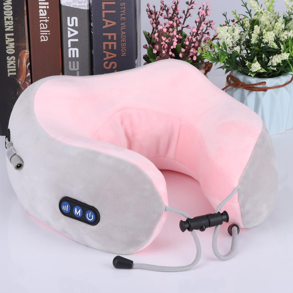 Almohada de masaje de cuello USB recargable forma de U vértebra Cervical masajeador de vibración de calor masajeador de viaje oficina en casa ayudante de sueño