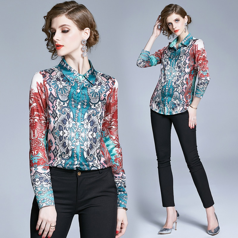 Simgent Blouse Women Casual Fashion Print Shirts Printing Work Office Tops Clothing Female Blusas SG004097