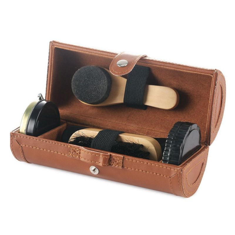 Leather shoes care set of 6 pieces, shoehorn, shoe polish, shoe brush, cleaning cloth, sponge brush, sponge wipe bristles become warped head shoe brush polishing leather shoes polish wipe scrub fur soft hair