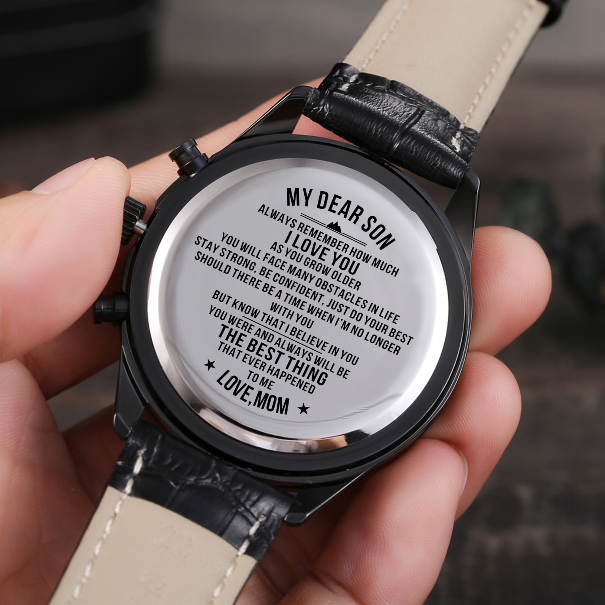 To My Son I LOVE YOU Wristwatch Watch Men Women Engraved Customized Present Wrist Clock Christmas presents