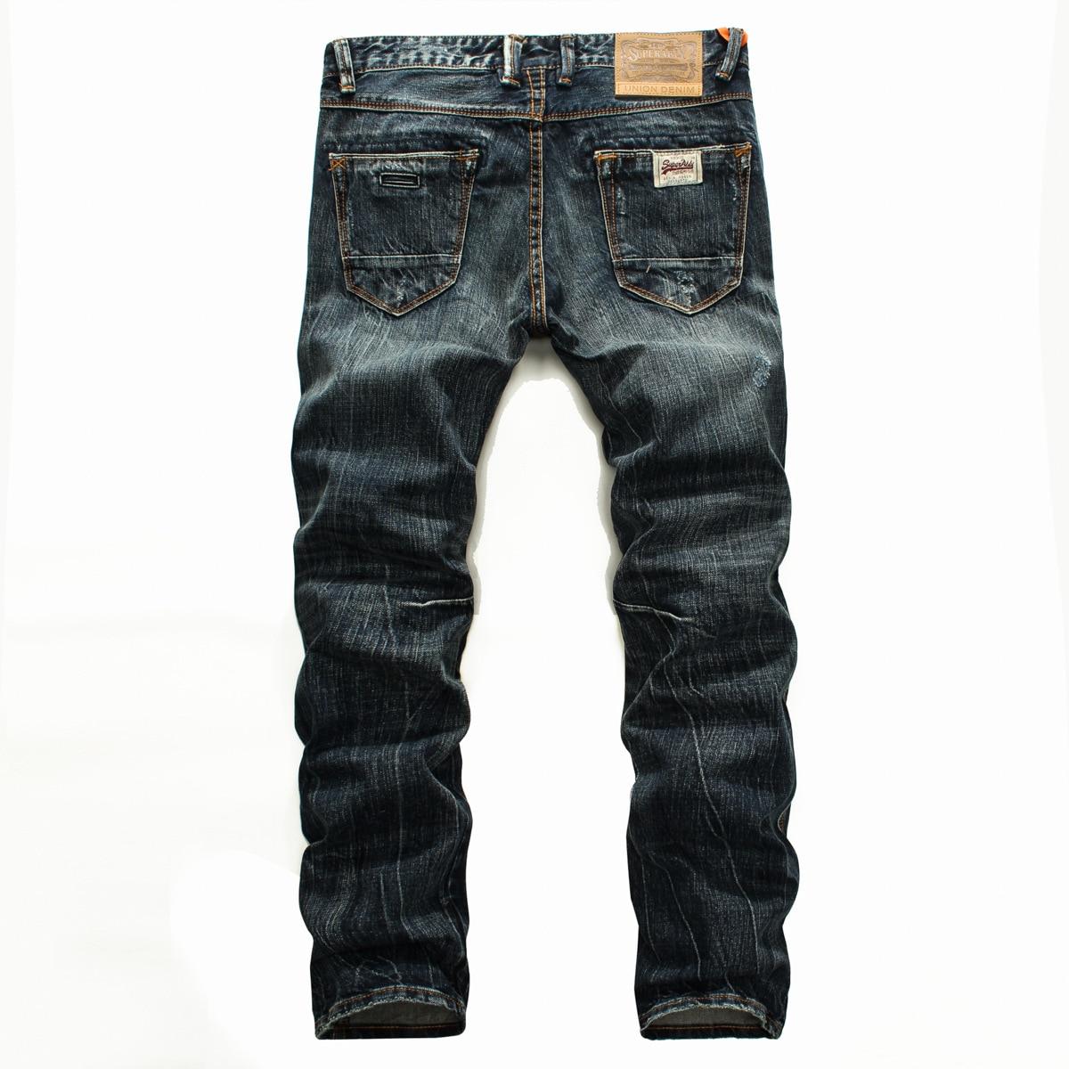 Новинка 2021, модные ностальгические Изношенные джинсы, мужские прямые брюки-трубы с царапинами, повседневные Молодежные длинные брюки со ср...