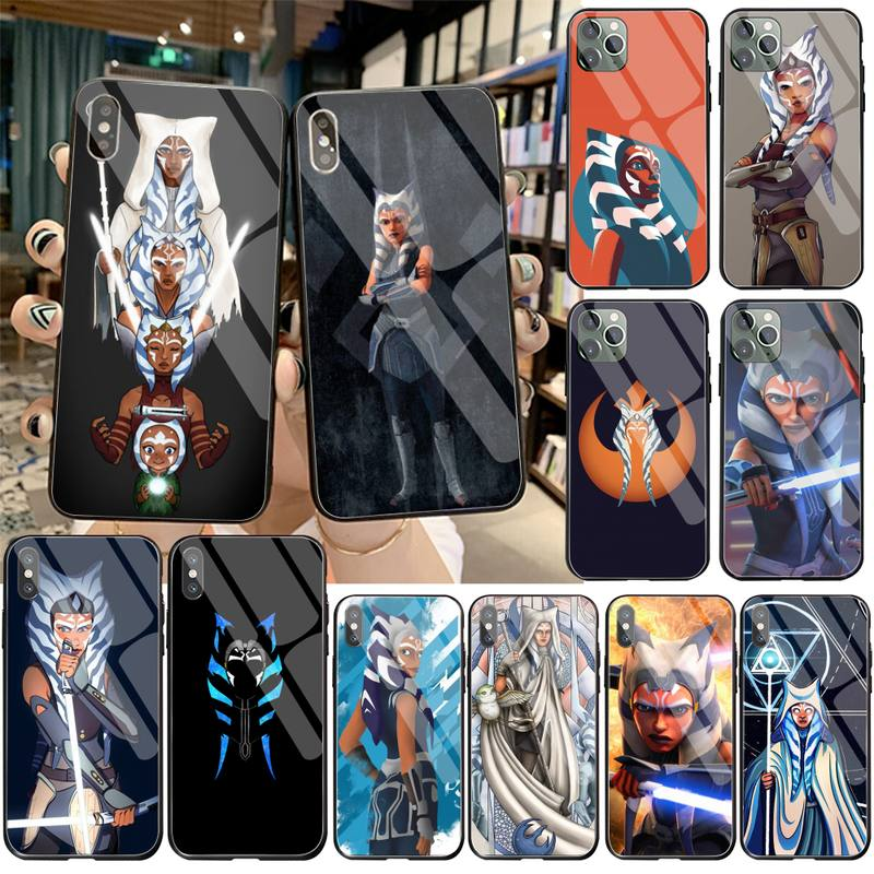 Película Ahsoka Tano suave negro teléfono caso de vidrio templado para iPhone 11 Pro XR XS MAX 8X7 6S 6 Plus SE caso De 2020