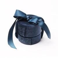 high grade dark blue wedding ring packaging gift box velvet round silk pendant storage for women birthday jewelry heart cute