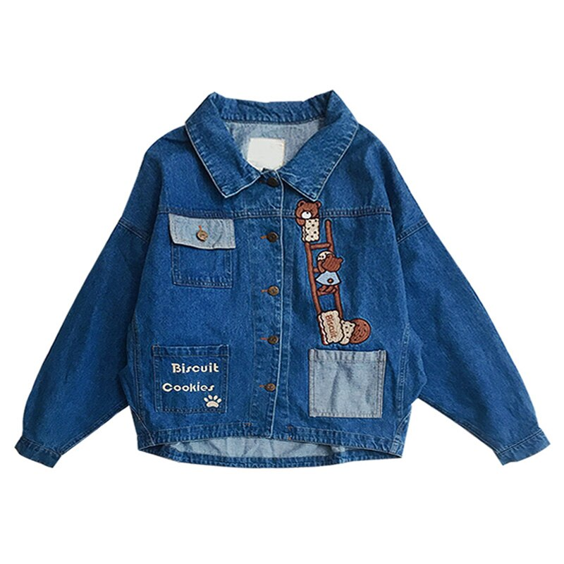 Moda coreana 2019 otoño nuevo diseño chaqueta de mezclilla de dibujos animados mono bordado señoras Jean abrigo