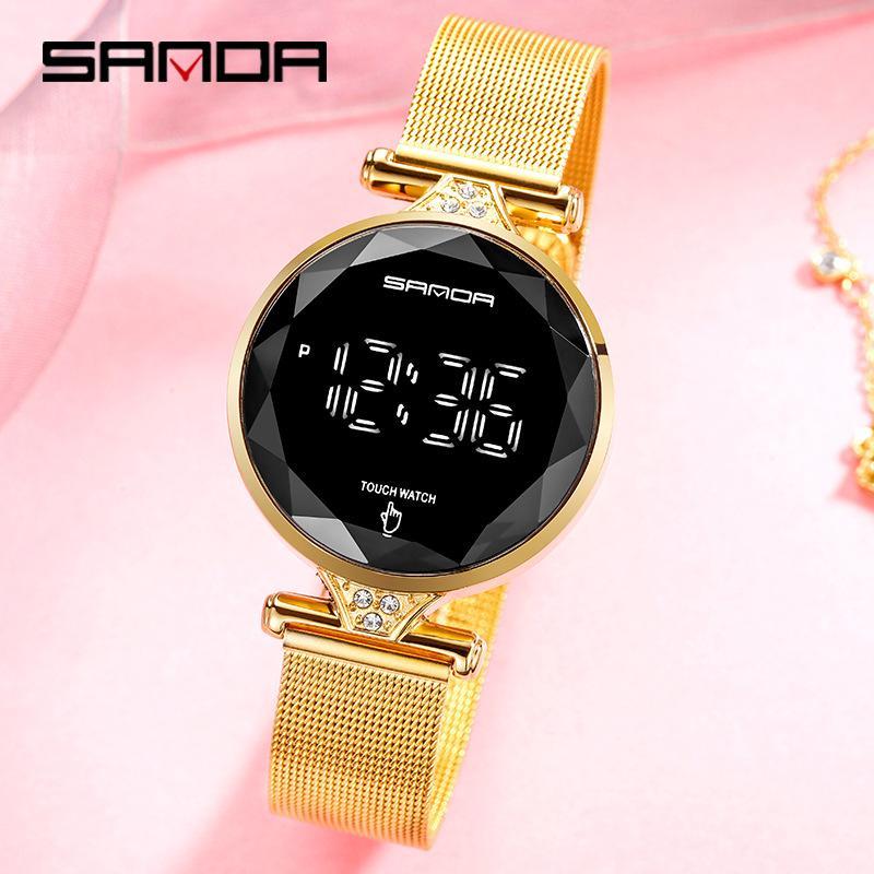 Reloj Digital SANDA para mujer, reloj deportivo de lujo a la moda para mujer, resistente al agua, malla de acero, reloj de pulsera para mujer