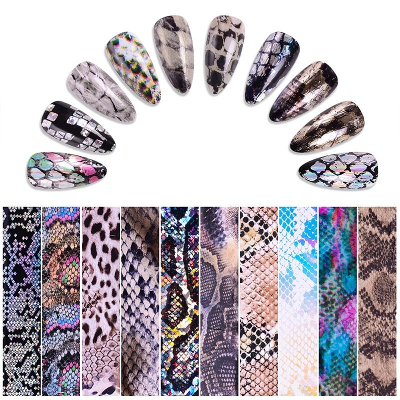 100*4 cm/rollo de piel de serpiente diseño láser holográfico uñas papel de transferencia de arte adhesivos para uñas adhesivos decoraciones