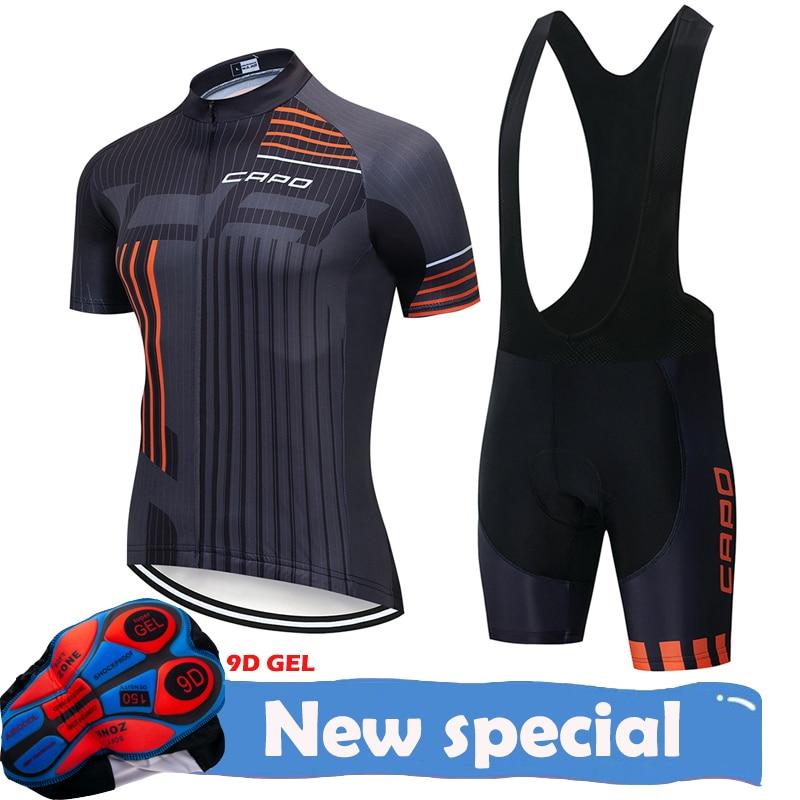 Nuevo equipo CAPO Ropa de ciclismo jersey 9D pad shorts set Ropa secado rápido hombres verano tops pro ciclismo Maillot Culotte