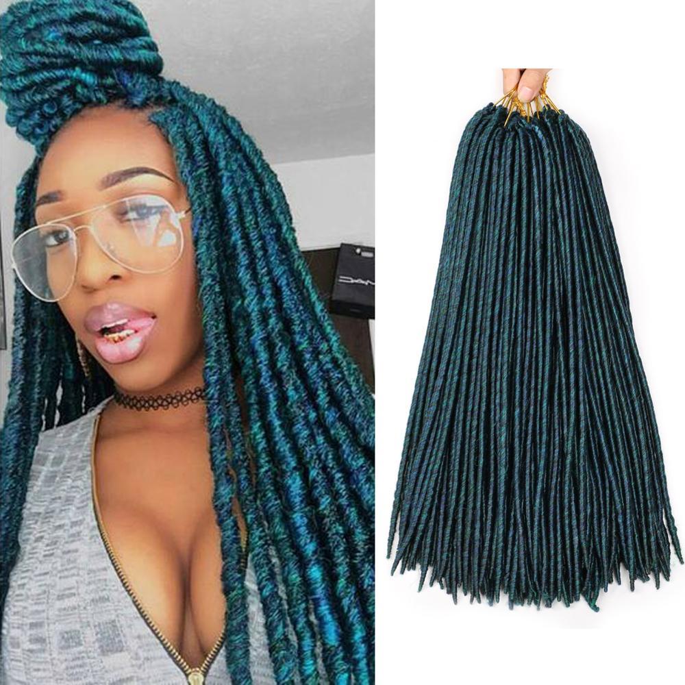 """DAIRESS 18 """"mezcla de colores verde azul Faux Locs Crochet cabello 16 hebras trenzado cabello diosa Locs Dreadlock extensiones Crochet trenzas"""
