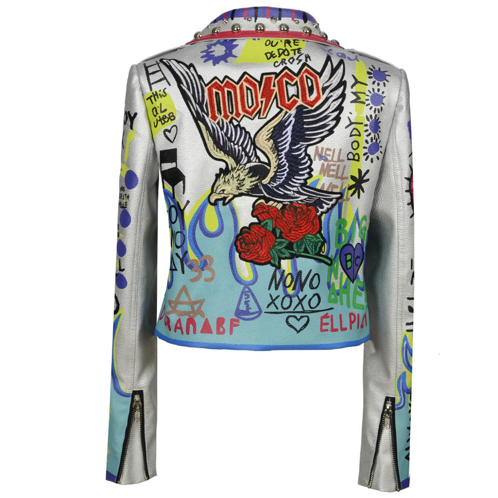 NEW jacket Women Casual Graffiti Cartoon Printed Studs coat Long Sleeve outerwear Fashion slim Street Autumn winter Streetwear enlarge