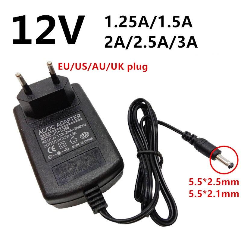 Adaptador de corriente Universal de 12 V y 12 voltios, convertidor de CA/CC de 100V y 220V a CC de 12 v, 1.25A, 1.5A, 2A, 2.5A, 3A, 5,5mm