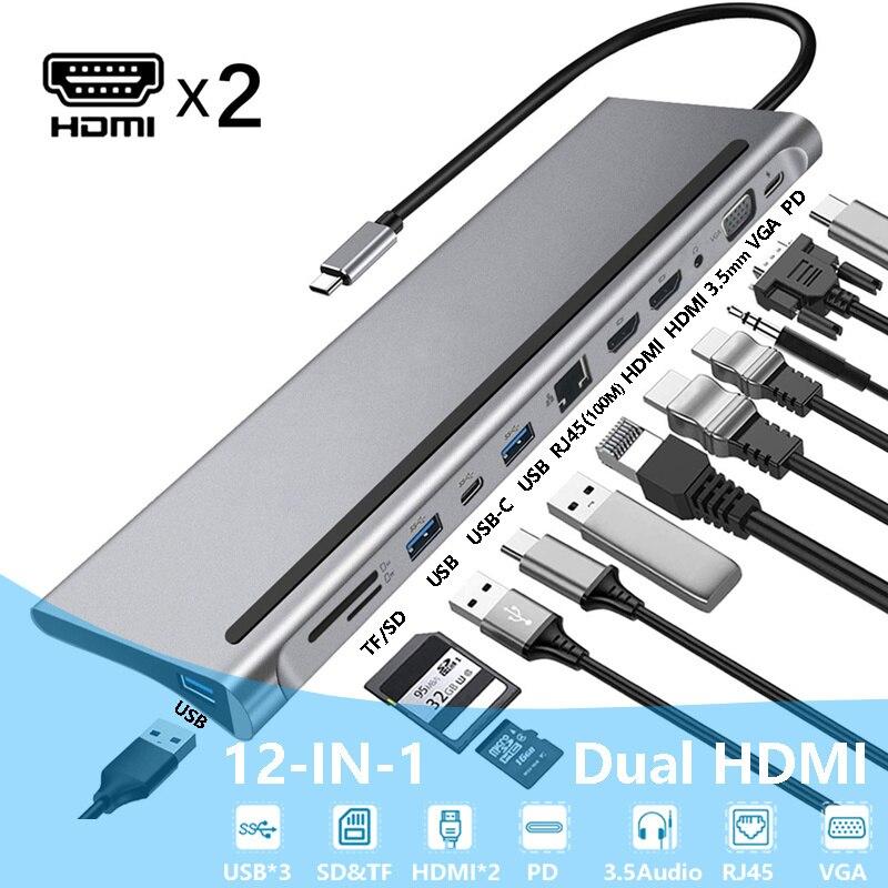 Estación de acoplamiento para ordenador portátil, puerto USB tipo C, MST Dual para HDMI, pantalla Dual, adaptador Hub para