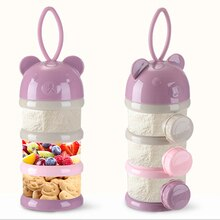 Caja de almacenamiento de alimentos para bebé, recipiente portátil de 3 o 4 capas, con dibujos animados, para cereales, leche en polvo