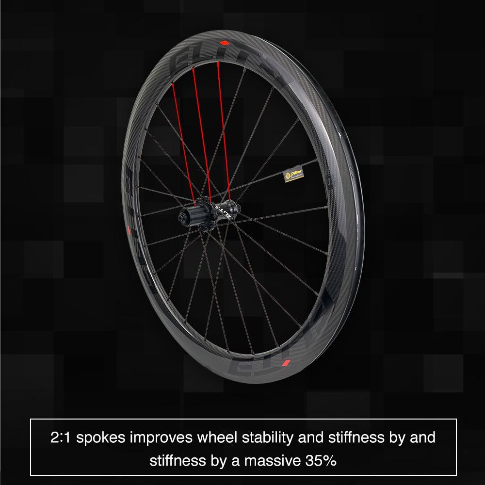 ELITEWHEELS 700c Road Bike Carbon Wheels 3k Twill UCI Quality Carbon Rim Tubeless Ready Sapim Secure Lock Nipple Racing Wheelset