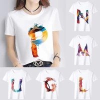 womens daily casual t shirt slim 26 english alphabet paint printing pattern series top commuter o neck top soft short sleeves