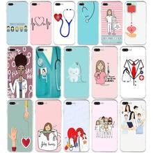 022FG Dessin Animé Médecine Infirmière Médecin Dentiste TPU Souple Étui En Silicone Pour Apple iPhone5 5s se 6 6s 7 8 plus x xr xs max