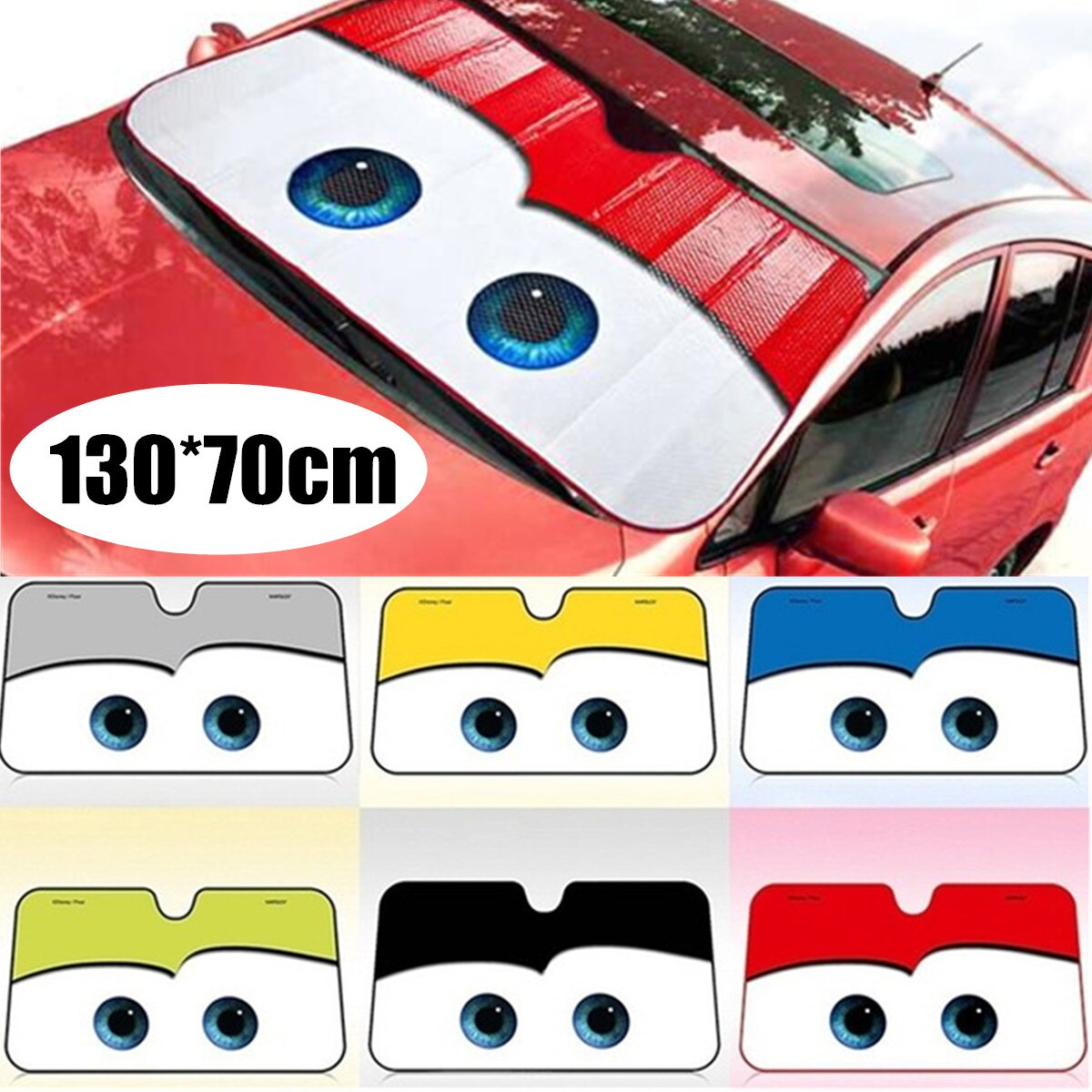 6 Colors Eyes Shape Car Sunshade Heated Windshield Cartoon Windscreen Cover Auto Sun Visor Car-covers Car Solar Protection