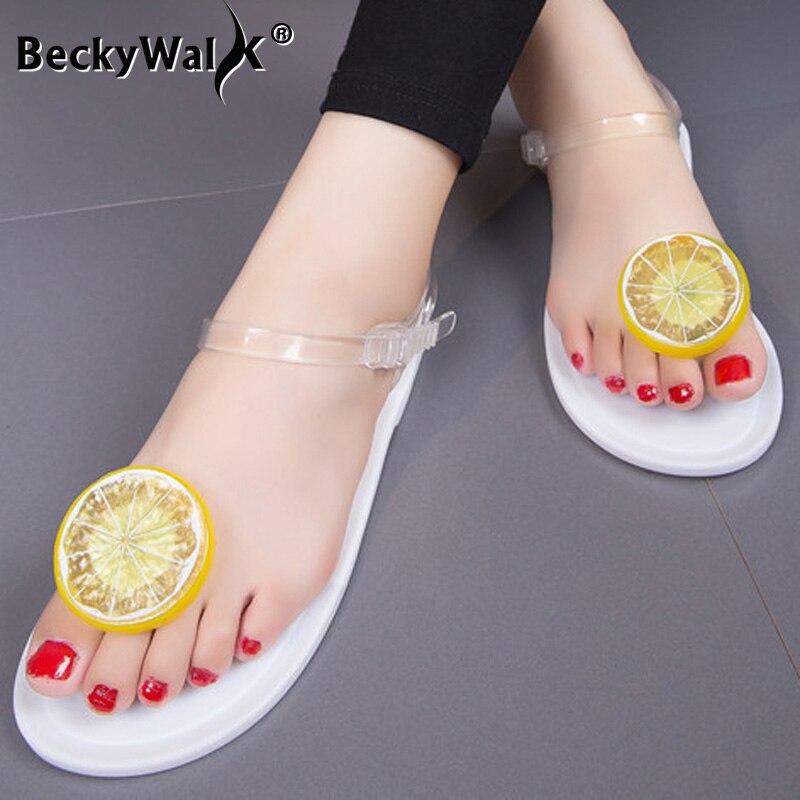 Sandalias planas de Mujer Zapatos de verano de mujer correa de tobillo transparente Clip de limón zapatos planos para la playa sandalia femenina WSH3547