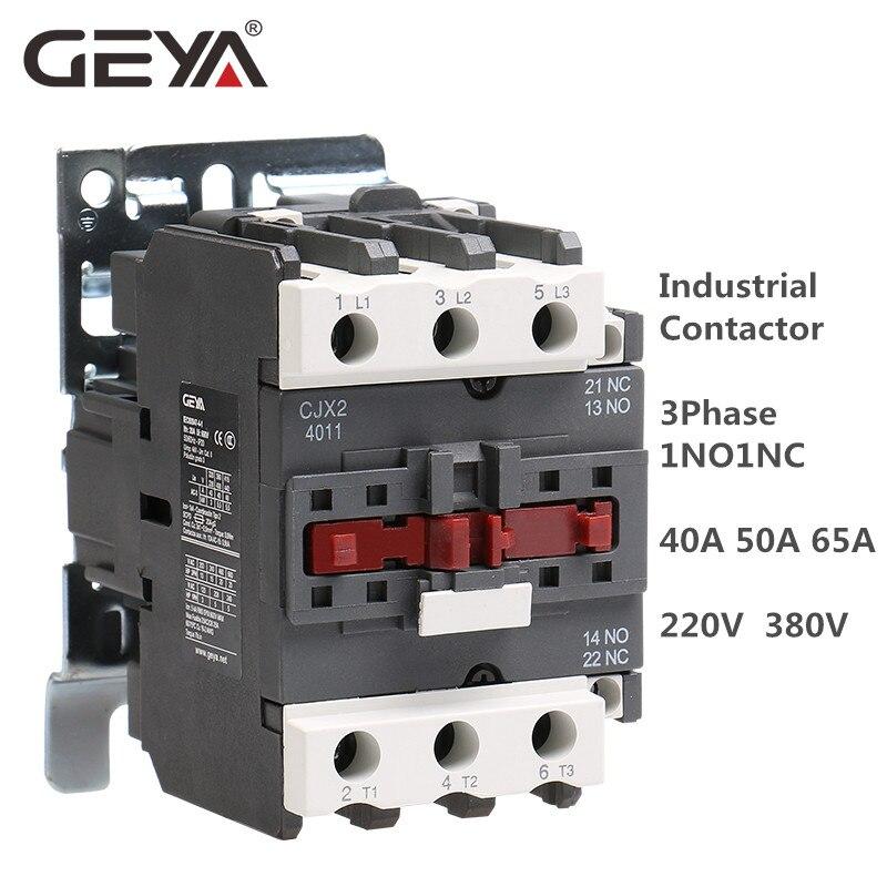 GEYA Industrial Magnetic AC Schütz Din Schiene CJX2 3Phase 40A 50A 65A 1NO1NC Telemecanique Schütz AC 220V oder 380V