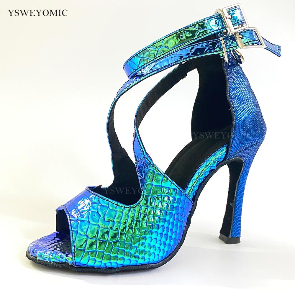 Туфли YSWEYOMIC женские для латиноамериканских танцев, каблук 10 см, кубинский синий лазер, искусственная кожа, блестящие синие туфли для сальсы, ... туфли блестящие с цветочком темно синий