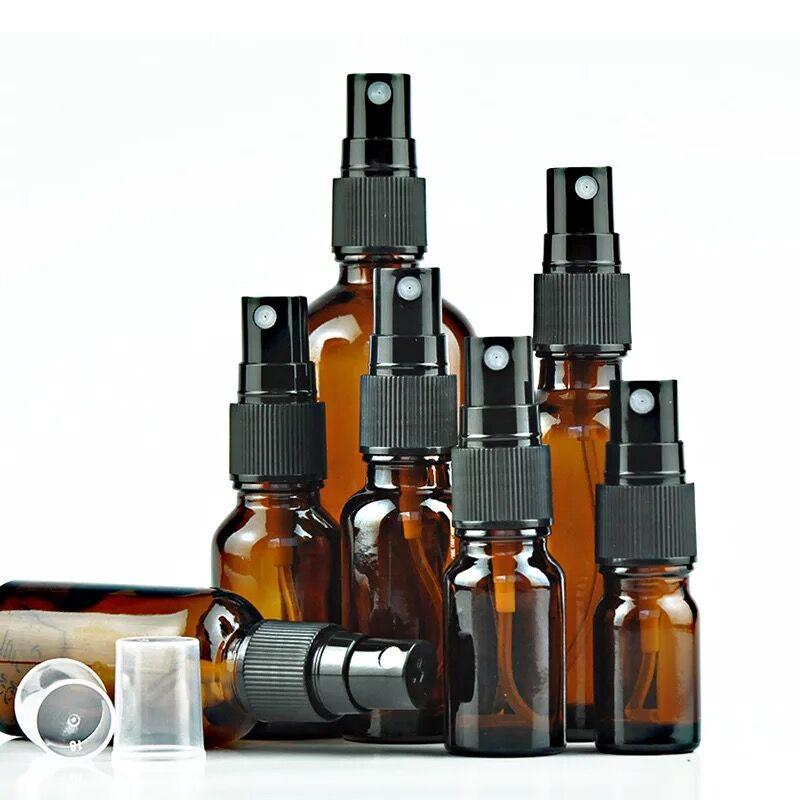 1 Uds. 5/10/15/20/30/50/100ml botellas de aerosol de aceite esencial de vidrio ámbar portátil rociador de niebla contenedor botellas recargables de viaje