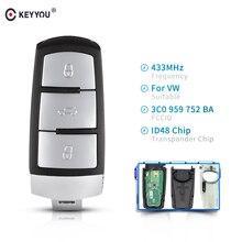 KEYYOU-clé intelligente à rabat sans clé   434MHz, 3BTN, télécommande de voiture, avec puce ID48, processeur, pour VW volkswagen agenpassat B6 3C B7 Magotan CC