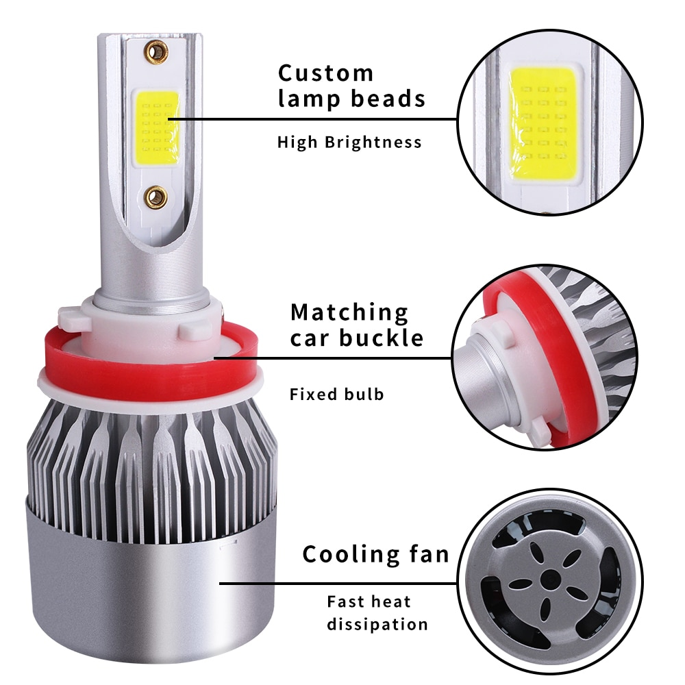 2 Piezas H11 LED H7 C6 Kit -40-80 grados Celsius luces Led antiniebla 6500K 12V 6000K IP67 clasificado sello de agua y polvo 120W Cn (origen)