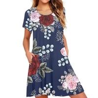 fashion women dress skin friendly floral print knee length summer round neck short sleeve side pockets dress for daily wear